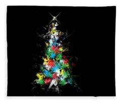 Happy Holidays - Abstract Tree - Horizontal Fleece Blanket