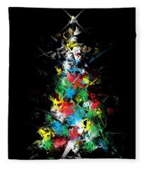 Happy Holidays - Abstract Tree - Vertical Fleece Blanket