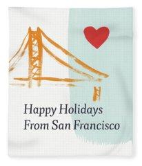 Happy Holidays San Francisco- Art By Linda Woods Fleece Blanket