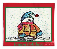 Happy Holidays Snowman Fleece Blanket