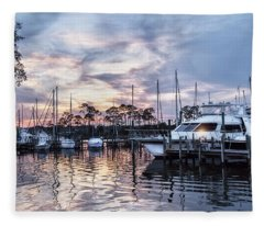 Happy Hour Sunset At Bluewater Bay Marina, Florida Fleece Blanket