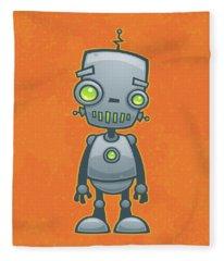 Happy Robot Fleece Blanket