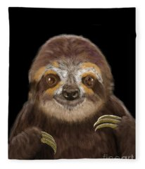 Happy Three Toe Sloth Fleece Blanket