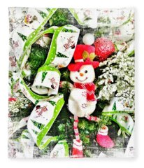 Happy Snowman Fleece Blanket