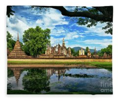 Happy Thoughts At Wat Mahathat In Sukhothai, Thailand, Southeast Asia Fleece Blanket