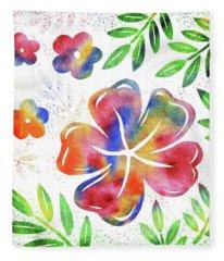 Happy Watercolor Flowers Fleece Blanket