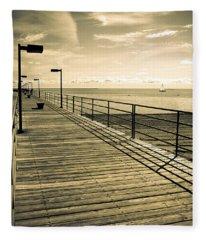 Harbor Beach Michigan Boardwalk Fleece Blanket