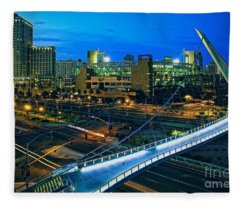 Harbor Drive Pedestrian Bridge And Petco Park At Night Fleece Blanket