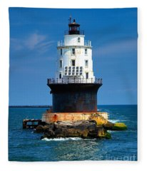 Harbor Of Refuge Lighthouse Fleece Blanket