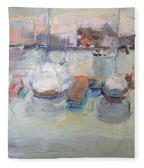 Harbor Sailboats Fleece Blanket