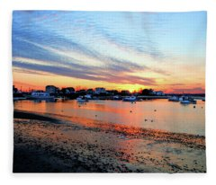 Harbor Sunset At Low Tide Fleece Blanket