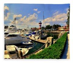 Harbour Town Marina Sea Pines Resort Hilton Head Sc Fleece Blanket