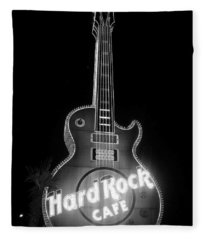 Hard Rock Cafe Sign B-w Fleece Blanket