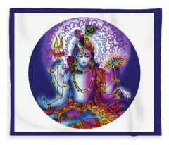 Hari Hara Krishna Vishnu Fleece Blanket
