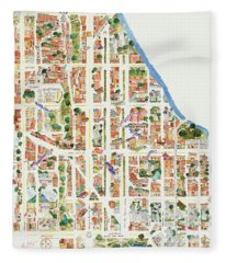 Harlem Map From 106-155th Streets Fleece Blanket