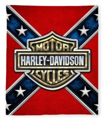 Harley-davidson - 3d Badge Fleece Blanket