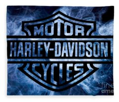 Harley Davidson Logo Blue Fleece Blanket