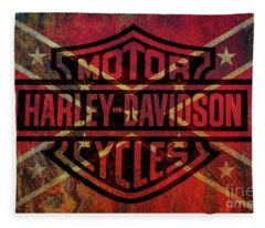 Harley Davidson Logo Confederate Flag Fleece Blanket