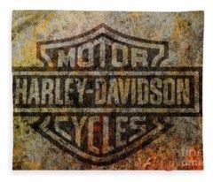 Harley Davidson Logo Grunge Metal Fleece Blanket
