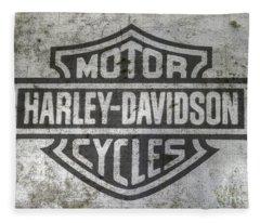 Harley Davidson Logo On Metal Fleece Blanket