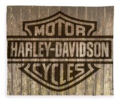 Harley Davidson Logo On Wood Fleece Blanket