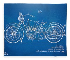 Harley-davidson Motorcycle 1928 Patent Artwork Fleece Blanket