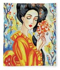 Harmony Flower Fleece Blanket