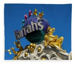 Harrah's Casino Sign On The Las Vegas Strip Fleece Blanket
