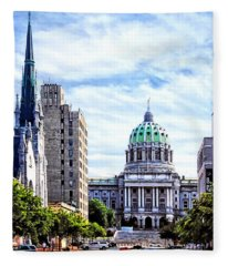 Harrisburg Pa - Capitol Building Seen From State Street Fleece Blanket
