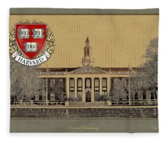 Harvard University Building With Seal Fleece Blanket