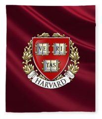 Harvard University Seal Over Colors Fleece Blanket