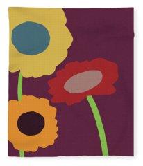 Harvest Flowers Purple- Art By Linda Woods Fleece Blanket