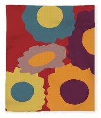 Harvest Flowers Red- Art By Linda Woods Fleece Blanket