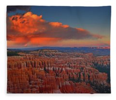 Harvest Moon Over Bryce National Park Fleece Blanket