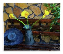 Hat And Flowers Fleece Blanket
