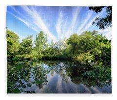 Hatfield Forest Lake England Essex Summer Fleece Blanket