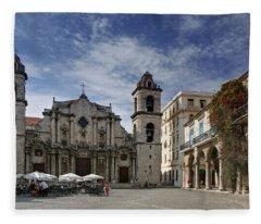 Havana Cathedral. Cuba Fleece Blanket