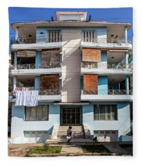 Havana Cuba Apartment Building Fleece Blanket
