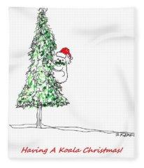 Having A Koala Christmas Fleece Blanket