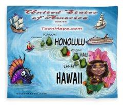 Hawaii Fun Map Fleece Blanket