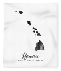 Hawaii State Map Art - Grunge Silhouette Fleece Blanket
