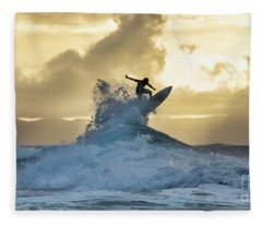 Hawaii Surfing Sunset Polihali Beach Kauai Fleece Blanket