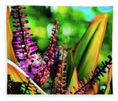 Hawaii Ti Leaf Plant And Flowers Fleece Blanket