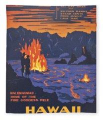 Hawaii Vintage Travel Poster Fleece Blanket