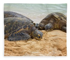 Hawaiian Green Sea Turtles 1 - Oahu Hawaii Fleece Blanket