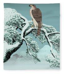 Hawk On Snowy Pine Fleece Blanket