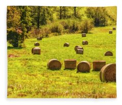 Hay Bales 2 Fleece Blanket