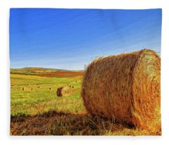 Hay Bales Fleece Blanket
