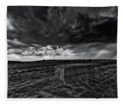 Hay Storm Black And White Fleece Blanket