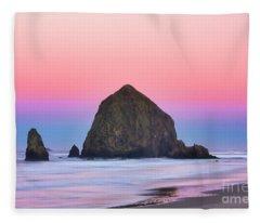 Haystack Rock At Dawn Fleece Blanket